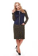 Теплое платье больших размеров Кэти букле оливка