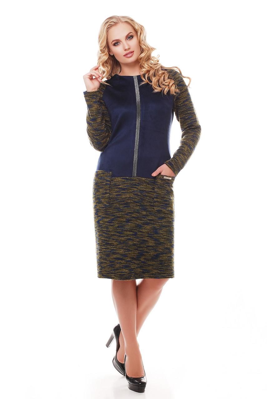 Теплое платье больших размеров Кэти букле оливка - DS Moda - женская одежда от производителя в Харькове