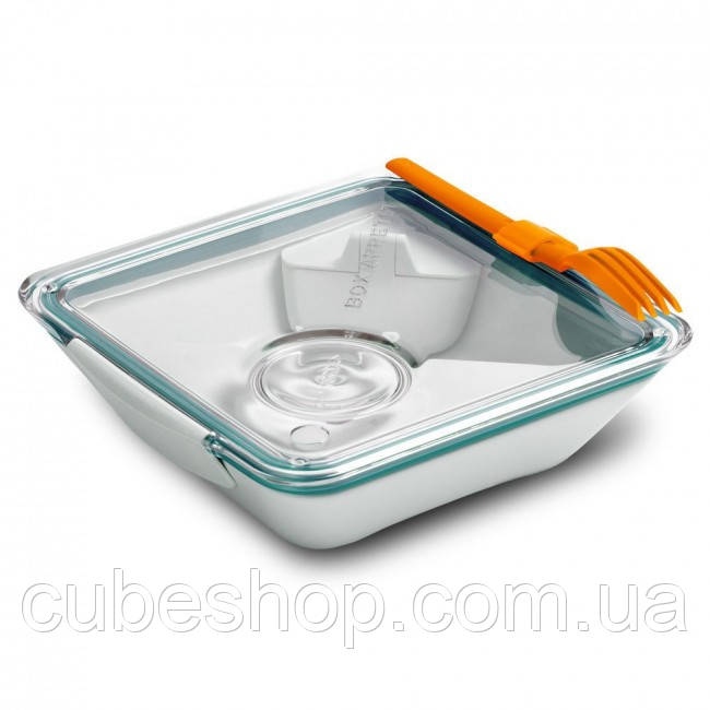 Ланчбокс квадратный Box Appetit Black+Blum (белый-голубой)
