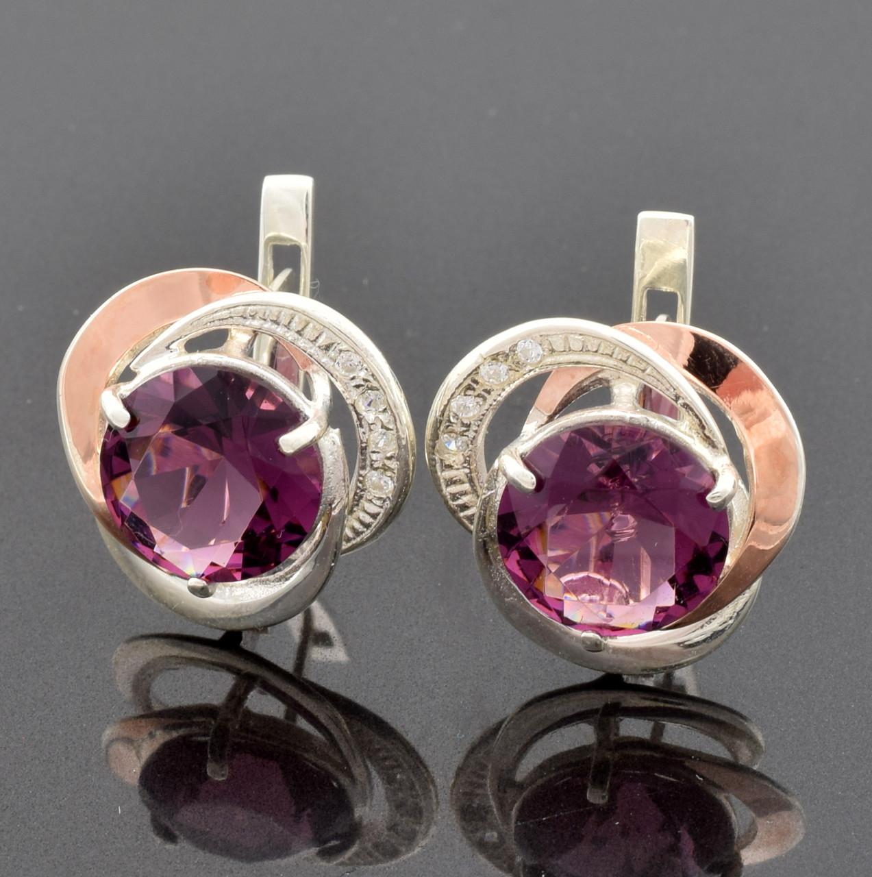 """Серебряные серьги """"Роза №2"""", размер 15*15 мм, вставка фиолетовые фианиты, вес 5.61 г"""