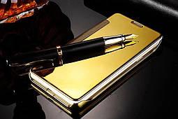 Чехол Mirror для Samsung Galaxy A7 2016 A710 книжка зеркальный Gold