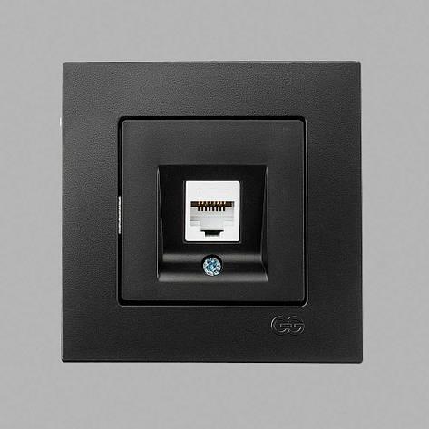 Розетка компьютер.c jak5 черная Eqona, фото 2
