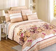 Полуторное постельное белье с простыней на резинке 90/200/25, Подарок, перкаль 100%хлопок