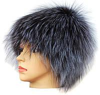 Женская меховая шапка из чернобурки,Паричок (серебро)