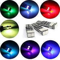 T10 W5W 194 LED мультимодальный 7-цветная вспышка света автомобиля 5050 6SMD Импульсная боковая маркерная лампа
