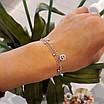 Серебряный браслет с висюльками бриллиант и шанель, фото 5