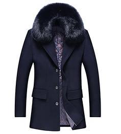 Мужское зимнее шерстяное пальто с мехом. Модель - М35