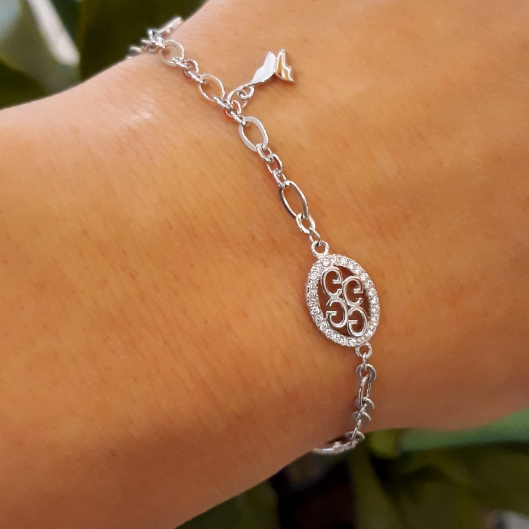 Браслет женский серебряный с подвесками - Серебряный родированный браслет с висюльками