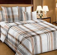 Двуспальное постельное белье с простыней на резинке 160/200/34 Константин, перкаль 100%хлопок