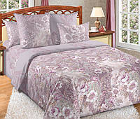 Семейное постельное белье с простыней на резинке 180/200/34, Вальс цветов, перкаль 100%хлопок