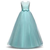 Пышное бирюзовое вечернее платье для девочки из гипюра и шифона Д-101389-2