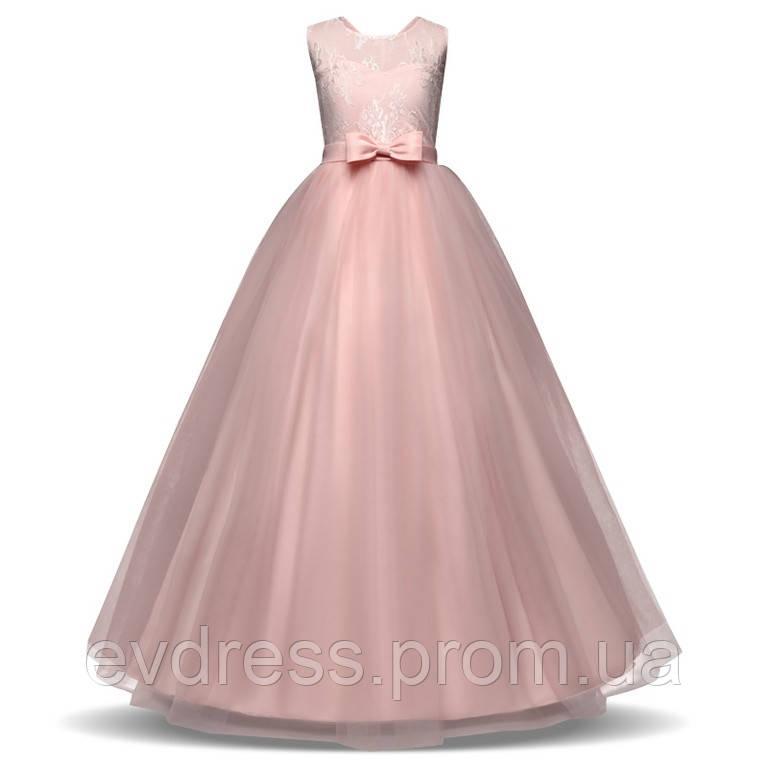 d016b94aa82d089 Пышное розовое вечернее платье для девочки из гипюра и шифона Д-101389-4 -