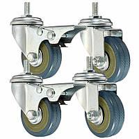 4шт сверхмощный резиновые поворотные копирующие колеса тележки мебель МНЛЗ