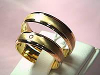 Кольцо 585 пробы обручальное лимонное золото