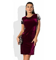 Бордовое бархатное платье с пайеткой на рукавах
