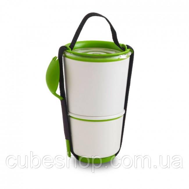 Ланчбокс Lunch Pot Black+Blum (белый-зеленый)