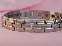 Турмалиновый магнитный браслет с титаном узкий серебро 4В1