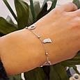 Брендовый родированный браслетик серебро 925 с висюльками - Женский серебряный браслет с подвесками, фото 4