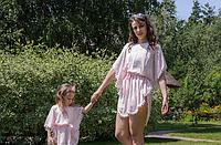 Комплект пончо, взрослое и детское, розовый