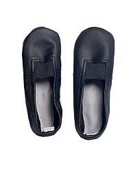 Детские чешки из кожзаменителя с замшевой подошвой (Черные) 14 см, Черный