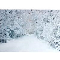 2.1 х 1.5 м Рождество тяжелый снег деревья дорога в кривых фотостудия фон