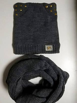 Детский компелкт шапка  кошка и хомут 52-54р