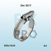 Хомут Din 3017-1 M8х16х9 А4 нержавеющий червячный ленточный