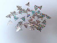 Паетки елочка серебро 50 шт
