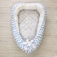 """Кокон для новорожденных """"Голубые зигзаги и звездочки"""" со съемным матрасиком"""