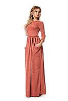 Длинное теплое платье с разрезом на юбке и карманами