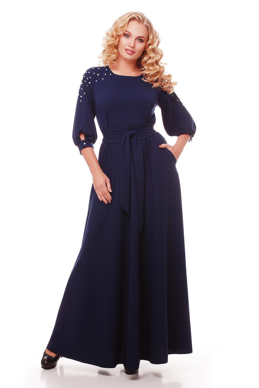 44c2b32cb91 Красивое длинное платье в пол Вивьен темно-синее - V Mode