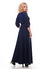 Красивое длинное платье в пол Вивьен темно-синее, фото 2