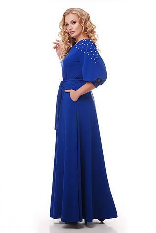 Красивое длинное платье в пол Вивьен электрик, фото 2