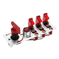 Комбинированный автомобиль модифицировано старт переключатель зажигания Трио переключатель красный свет 20A 12v