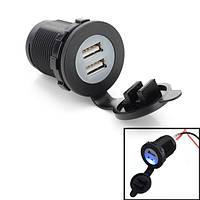 Автомобиль двойной USB зарядное устройство прикуривателя розетка синий свет 12v 20а