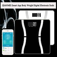 QIANMEI 150Kg Smart App Вес Большой LCD Цифровой электронный жир тела Шкала