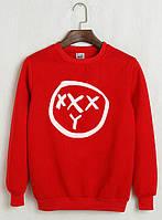 Свитшот Oxxxymiron красный с логотипом,унисекс (мужской,женский,детский)