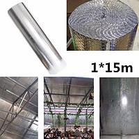 1 * 15м солнцезащитный крем алюминий feflective пленка двойной пузырь фольги рулон алюминия чердака изолирующая пленка