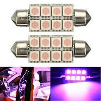 2x 264 C5W 42мм CANbus 5050 8 СМД LED розовый фестонный купол карта интерьер лампочка