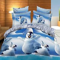 4шт 3d милые пингвины реактивная крашения утолщаются постельное белье наборы полиэфирного волокна королева размер короля пододеяльник