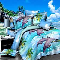 4шт полиэфирного волокна 3d дельфин океан смотреть Реактивная крашения наборы постельных принадлежностей королева King Size пододеяльник