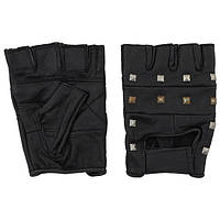 [уценка] Перчатки без пальцев кожаные чёрные, с заклёпками (L) MFH 15504