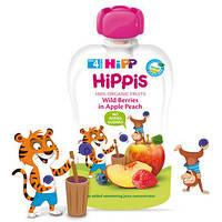 Органическое фруктовое пюре HiPP HiPPiS Яблоко-персик-черника-малина, 100 г