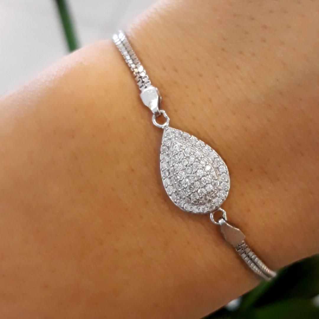 Брендовый женский браслет серебро 925 пробы - Серебряный родированный женский браслет Капля с фианитами