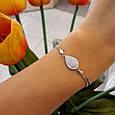 Брендовый женский браслет серебро 925 пробы - Серебряный родированный женский браслет Капля с фианитами, фото 2