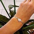 Брендовый женский браслет серебро 925 пробы - Серебряный родированный женский браслет Капля с фианитами, фото 3