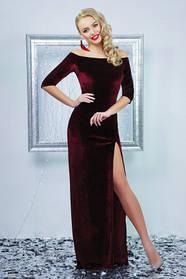 Платье бордовое велюровое с разрезом длинное