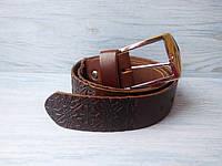Мужской кожаный ремень коричневый в этно стиле