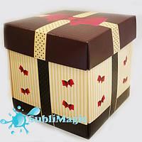 Упаковка с крышкой для чашки картон (коричнево-бежевая)
