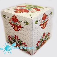 Упаковка с крышкой для чашки картон (петриковский орнамент)